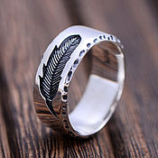 Украшения handmade. Livemaster - original item Silver ring with a feather. Handmade.