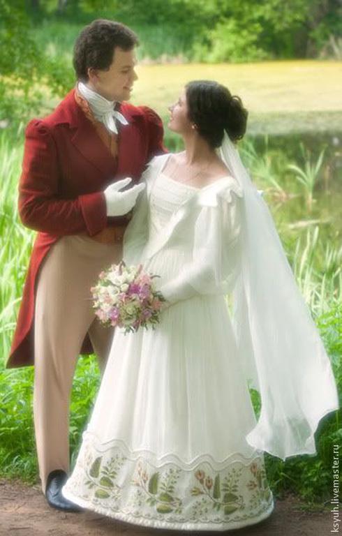 Ролевые игры ручной работы. Ярмарка Мастеров - ручная работа. Купить вышивка на свадебном платье. Handmade. Разноцветный, вискозная нить