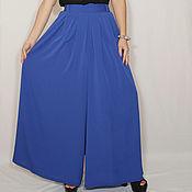 Одежда ручной работы. Ярмарка Мастеров - ручная работа Шифоновая юбка брюки штаны, королевский синий. Handmade.