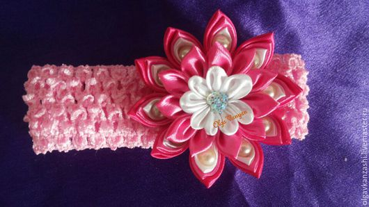 Диадемы, обручи ручной работы. Ярмарка Мастеров - ручная работа. Купить повязка на голову для принцессы канзаши. Handmade. Комбинированный, канзаши