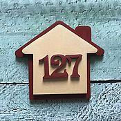 Двери ручной работы. Ярмарка Мастеров - ручная работа Номерок на дверь квартиры в виде домика. Handmade.