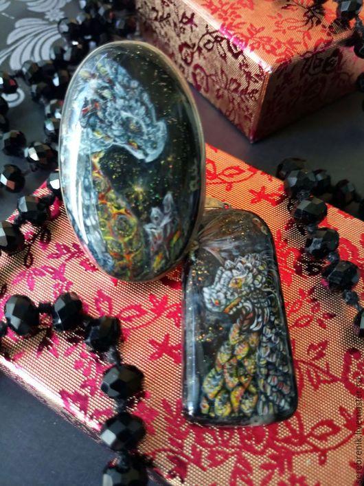Эксклюзивная бижутерия с росписью – женские украшения в единственном экземпляре с миниатюрной живописью Лавовые драконы.