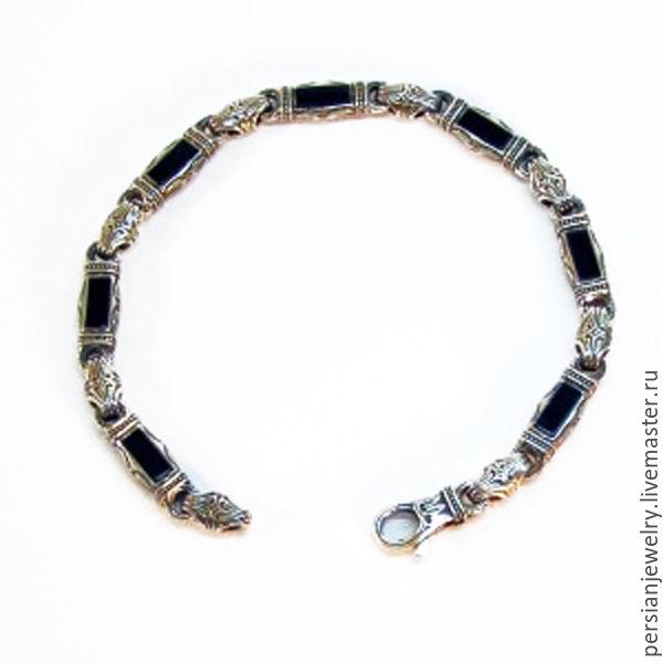 Silver bracelet with onyx 'the Mystery of Onyx', Chain bracelet, Sevastopol,  Фото №1