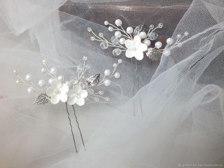 Свадебные украшения ручной работы. Ярмарка Мастеров - ручная работа. Купить Украшения: Комплект из 2 шпилек для свадебной прически. Handmade.