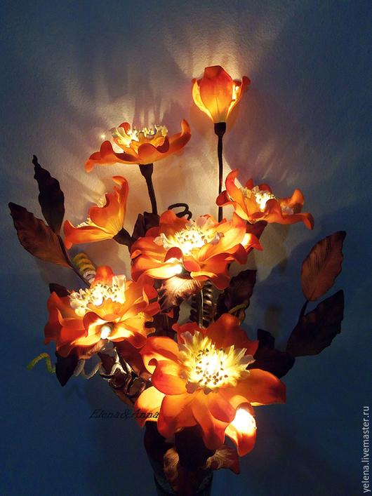 """Освещение ручной работы. Ярмарка Мастеров - ручная работа. Купить Букет-светильник  """"Оранжевый Коралл"""". Handmade. Оранжевый, освещение"""