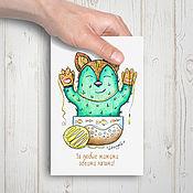Открытки ручной работы. Ярмарка Мастеров - ручная работа КотоКактус - открытка. Handmade.