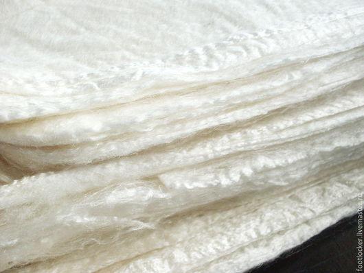 Валяние ручной работы. Ярмарка Мастеров - ручная работа. Купить Шелковые платочки (квадраты) для валяния, белые, 10 гр. Handmade.