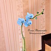 Цветы и флористика ручной работы. Ярмарка Мастеров - ручная работа Голубая орхидея фаленопсис из полимерной глины. Handmade.
