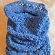 Blue Snood, tube, cowl, white, gray, Scarves, Moscow,  Фото №1