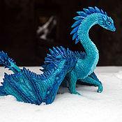Куклы и игрушки handmade. Livemaster - original item Ice Sapphire Dragon Figurine. Handmade.