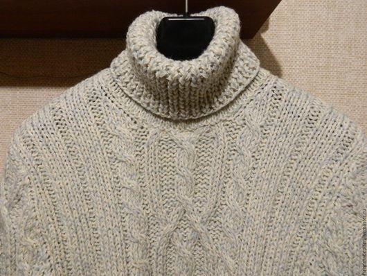 Для мужчин, ручной работы. Ярмарка Мастеров - ручная работа. Купить свитер шерстяной мужской. Handmade. Белый, свитер с косами