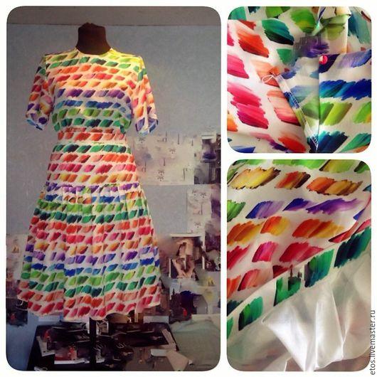 Платья ручной работы. Ярмарка Мастеров - ручная работа. Купить Платье  из  шелковой ткани. Handmade. Комбинированный, шелк натуральный, платье