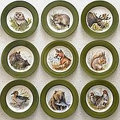 Посуда handmade. Livemaster - original item Painted porcelain Collection of plates in a Hunting restaurant. Handmade.