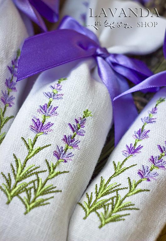 Веточки лаванды вышивка