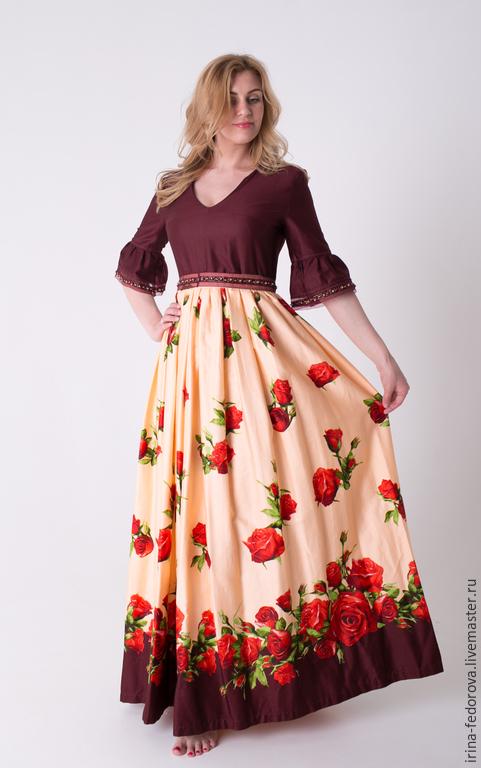 Платья ручной работы. Ярмарка Мастеров - ручная работа. Купить Платье из хлопка Розы П-33. Handmade. Разноцветный