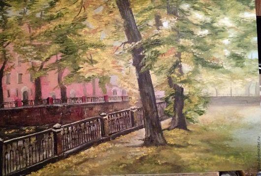 Пейзаж ручной работы. Ярмарка Мастеров - ручная работа. Купить Осень. Handmade. Золотой, бульвар, зеленый цвет, хороший подарок