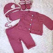 Работы для детей, handmade. Livemaster - original item Sweater pants cap booties Cranberries. Handmade.