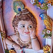 Картины и панно ручной работы. Ярмарка Мастеров - ручная работа Кришна - Резное деревянное панно. Handmade.