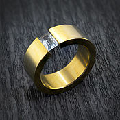 handmade. Livemaster - original item Titanium ring yellow with blue Topaz. Handmade.