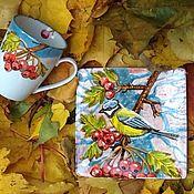 """Посуда ручной работы. Ярмарка Мастеров - ручная работа Кружка и тарелочка """"Осеннее настроение"""". Что подарить?. Handmade."""