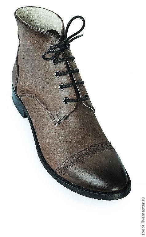 Обувь ручной работы. Ярмарка Мастеров - ручная работа. Купить Ботинки College. Handmade. Коричневый, ботинки женские