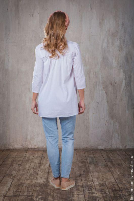 Блузки ручной работы. Ярмарка Мастеров - ручная работа. Купить Белая рубашка. Handmade. Белый, хлопок 100%, лето 2016