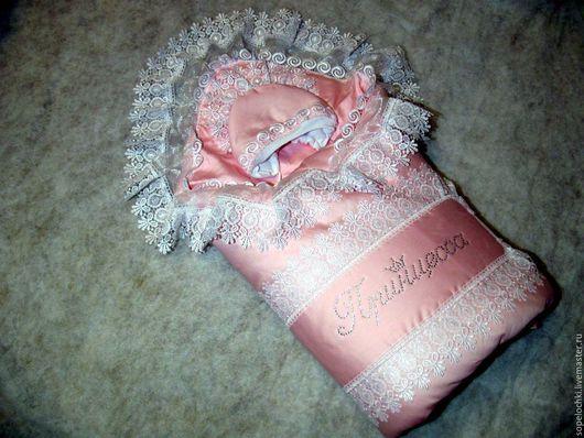 Для новорожденных, ручной работы. Ярмарка Мастеров - ручная работа. Купить Конверт на выписку. Handmade. Розовый, комплект для девочки