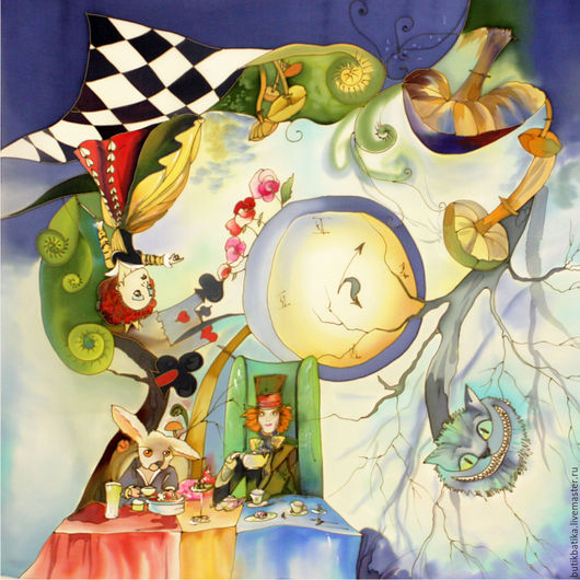 Комплекты аксессуаров ручной работы. Ярмарка Мастеров - ручная работа. Купить Шелковый платок Алиса в стране чудес. Handmade. Рисунок