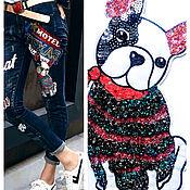 Материалы для творчества handmade. Livemaster - original item Embroidery in the form of a Dog embroidered with rhinestones. Handmade.