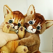Куклы и игрушки ручной работы. Ярмарка Мастеров - ручная работа Обнимайте друг друга чаще... Котята-аби. Коллекционная игрушка тедди. Handmade.