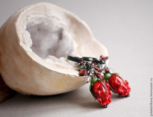 """Серьги ручной работы. Ярмарка Мастеров - ручная работа. Купить Серьги """"ИМПЕРИАЛ """" серебро 925, lampwork, гранат. Handmade."""