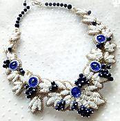 Колье ручной работы. Ярмарка Мастеров - ручная работа Колье Нежные цветы вышивка бисером и кристаллами. Handmade.