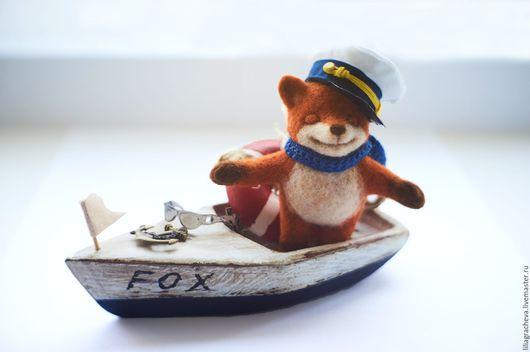 рыжий, лиса, лиса игрушка, лисенок, лисичка, игрушка лиса, игрушка лиса купить, мягкая игрушка лиса, лиса из шерсти, лисенок из шерсти, лисенок из войлока, лисенок морячок, лисенок капитан в лодке,лис
