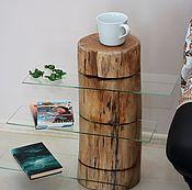 Для дома и интерьера ручной работы. Ярмарка Мастеров - ручная работа столик из натурального дерева со стеклянными полочками. Handmade.