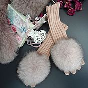 """Аксессуары ручной работы. Ярмарка Мастеров - ручная работа Перчатки с мехом """"Розовый кварц"""". Handmade."""