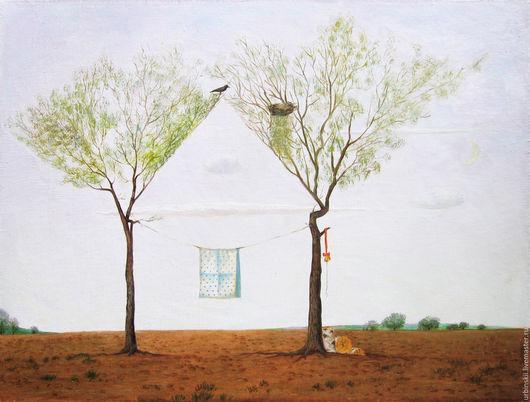 Пейзаж ручной работы. Ярмарка Мастеров - ручная работа. Купить Домик для лета. Handmade. Белый, зеленый, картина маслом на холсте