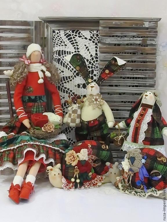 Тильда Новогодние игрушки из шотландки, Куклы Тильда, Москва,  Фото №1