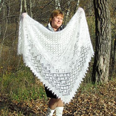 Аксессуары ручной работы. Ярмарка Мастеров - ручная работа Пуховая ажурная шаль---Белые снежинки---. Handmade.