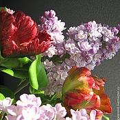 Цветы и флористика handmade. Livemaster - original item Tulips and lilacs.Realistic flowers. Handmade.
