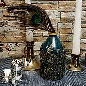 "Вазы ручной работы. Ярмарка Мастеров - ручная работа Бутылка-ваза ""Перья"". Handmade."