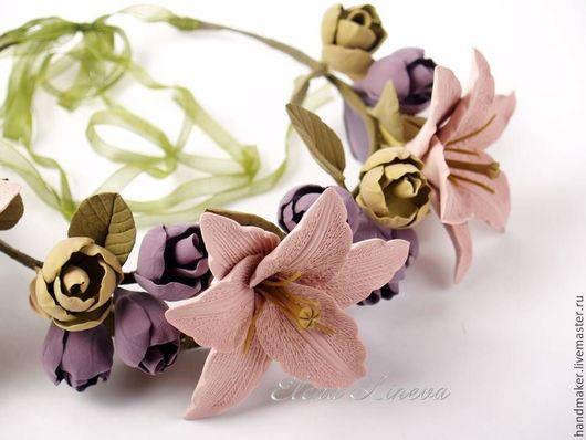 Диадемы, обручи ручной работы. Ярмарка Мастеров - ручная работа. Купить Венок с лилиями. Handmade. Кремовый, венок с лилиями, лилии