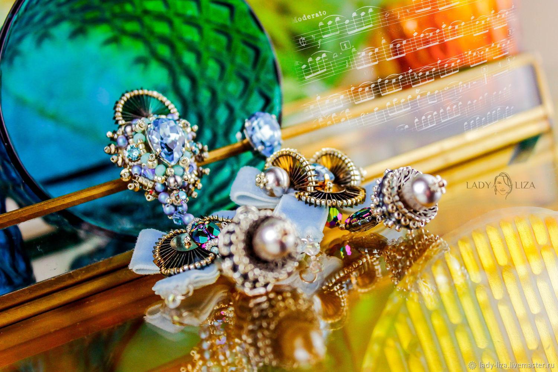 Earrings-ear-stud: Patricia. Crystal drop earrings. Asymmetric earrings, Stud earrings, Zelenokumsk,  Фото №1
