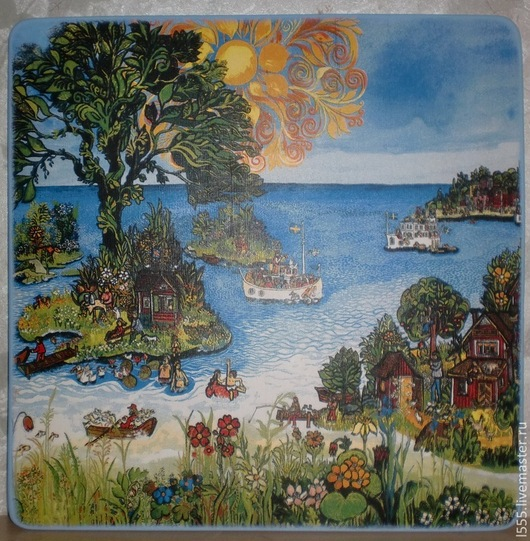 """Кухня ручной работы. Ярмарка Мастеров - ручная работа. Купить Разделочная доска панно """"Солнечный остров"""". Handmade. Разноцветный, люди"""