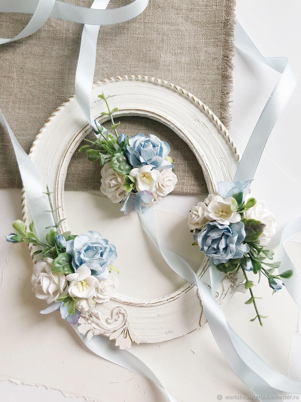 Браслеты для подружек невесты с голубыми цветами, Б-58, Браслеты, Санкт-Петербург,  Фото №1
