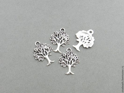 Подвеска Дерево 16*21 мм цветантичное серебро, отверстие  ок. 2 мм, материал - сплав металлов, не содержит свинца и никеля  (арт. 1629-с)