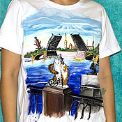 Одежда handmade. Livemaster - original item T-shirt white Petersburg and cats. Handmade.