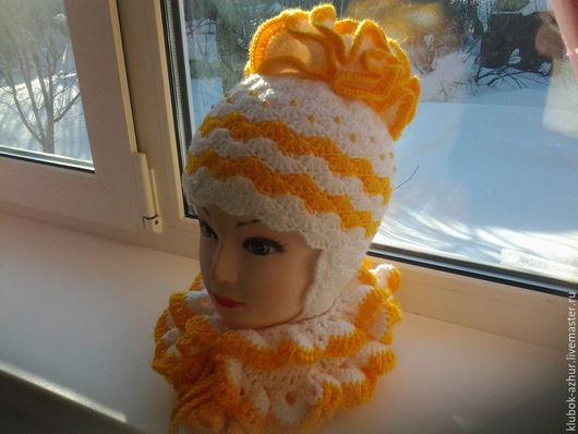 Шапки ручной работы. Ярмарка Мастеров - ручная работа. Купить шапочка для девочки. Handmade. Желтый, шапочка для девочки, шарф вязаный