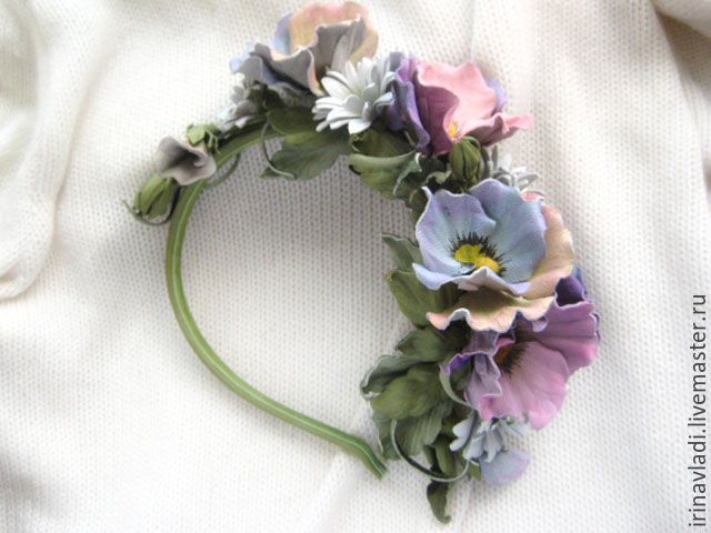 hair band Pansy, Pansy brooch,hair clip pansies brooch pin Pansy,jewelry leather,leather flowers, hair Hoop leather Pansy