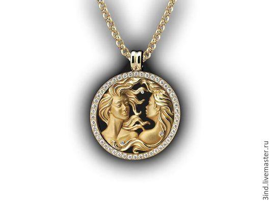 Кулон. Знак зодиака `Близнецы` из золота 750 пробы. Бриллианты диаметром 2,0 мм. - 1,5ct. Диаметр кулона 40 мм. Возможны варианты изготовления. https://vk.com/3dmodelpro
