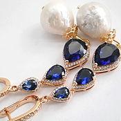 Украшения ручной работы. Ярмарка Мастеров - ручная работа LUX!!! KASUMI-like LADY BLUE Серьги (Кольцо)барочный жемчуг золото 585. Handmade.